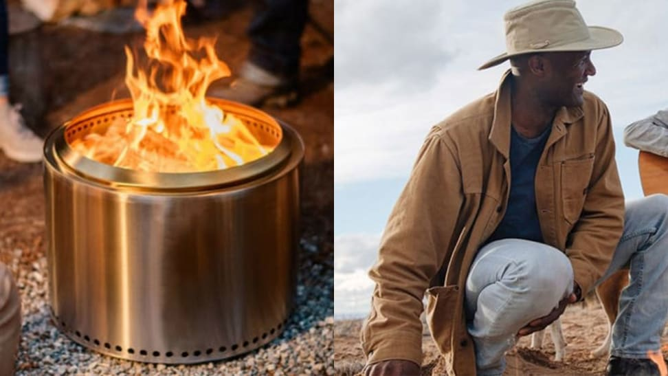 Fire pit burning / Man wearing a brim hat outdoors