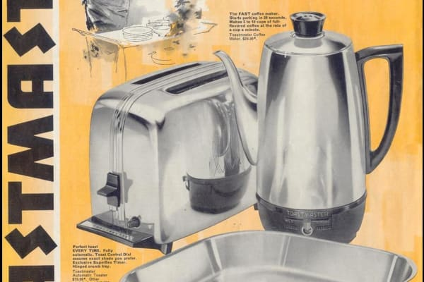 1959 ad for Toastmaster toaster, percolator, and griddle: