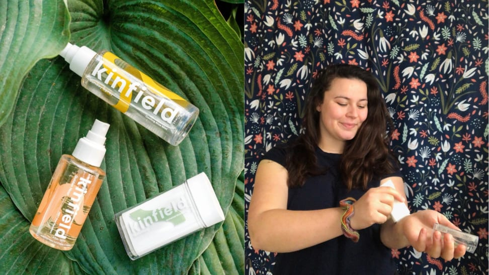 On the left: The Kinfield Golden Hour bug spray, Sunday Spray cooling mist, and Waterbalm universal moisturizer lay on a giant green leaf. On the right: A person stands against a colorful printed background and applies the Waterbalm to their left arm with their right hands while smiling.