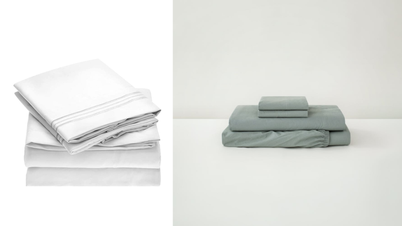 On the left, a set of microfiber white sheets. On the right, a set of sage green cotton sheets.
