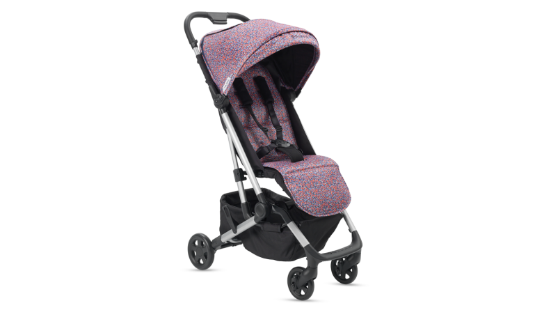 Colugo stroller with pink print.