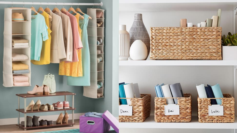 Left: An organized closet. Right: wicker baskets holding books and other items.