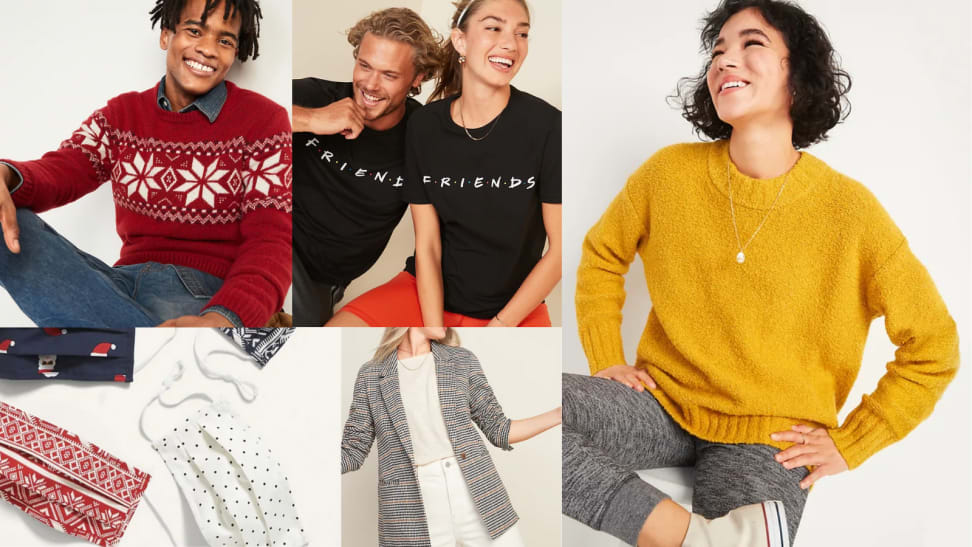 Several images of the sweaters, t-shirts, and blazers you can get from Old Navy.