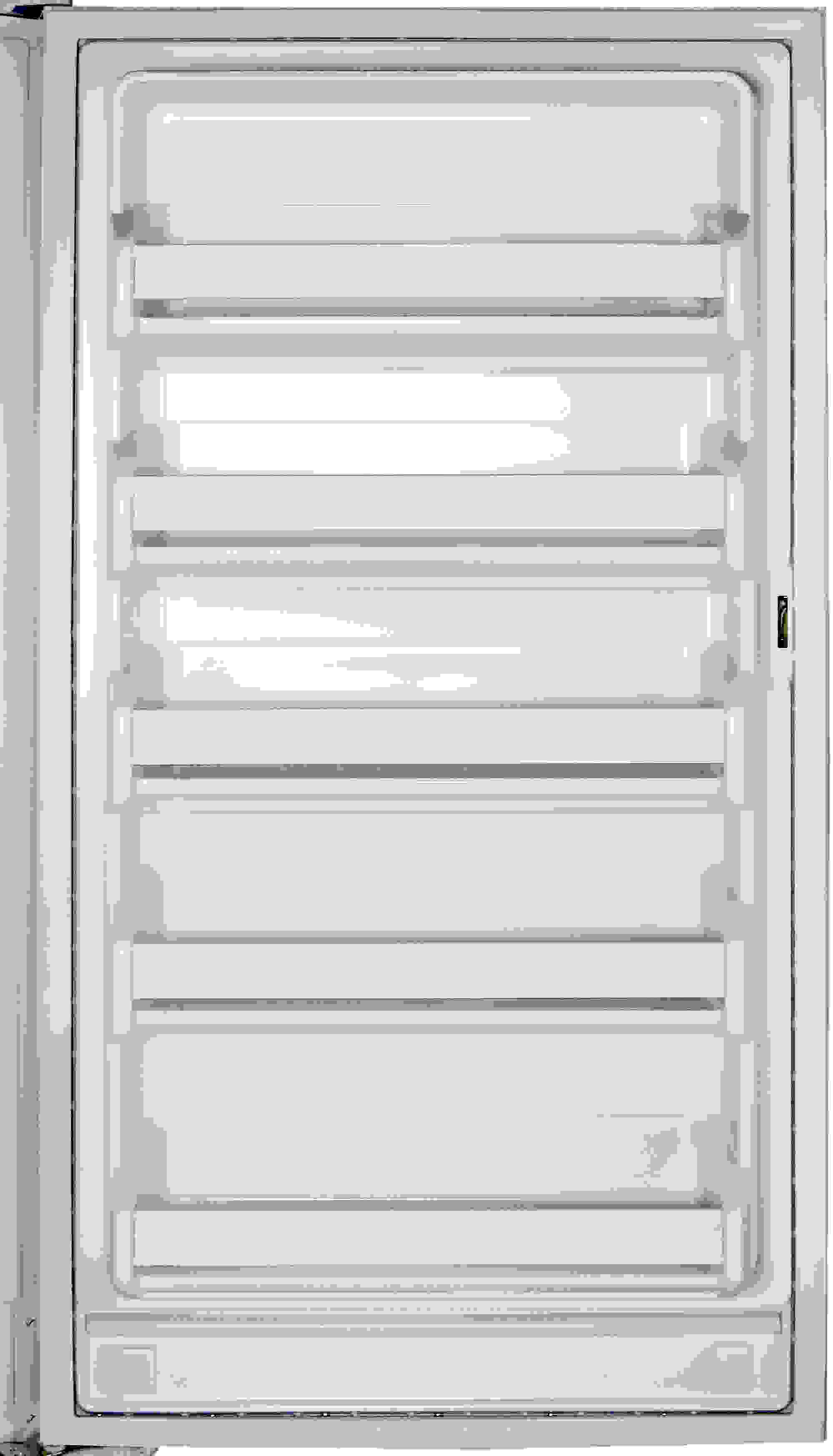 The typical five shelves are found on the GE FUF14SVRWW's door, none of which are adjustable.