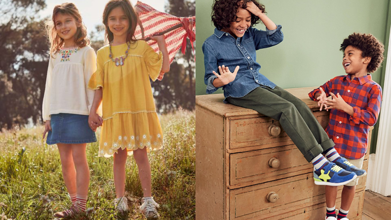 On the left: Two young girls standing in a field holding a kite. On the right: A young boy sits on top of a dresser and talk to another boy standing next to him.