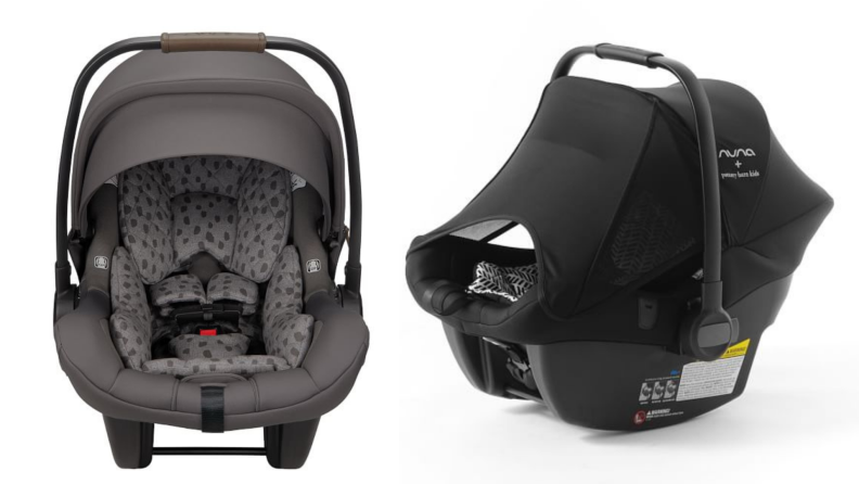 On left. gray car seat. On right, black car seat with sunlight visor pulled down