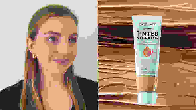 On the left: A person with fair skin and long brown hair wears the Wet n Wild Bare Focus Tinted Hydrator Tinted Skin Veil on their face. On the right: The blue tube of Wet n Wild Bare Focus Tinted Hydrator Tinted Skin Veil stands against a background of different colored skin tints.