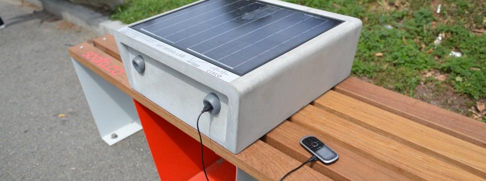 The Soofa solar-powered charging bench.