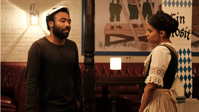 A still from Atlanta featuring Donald Glover and Zazie Beetz