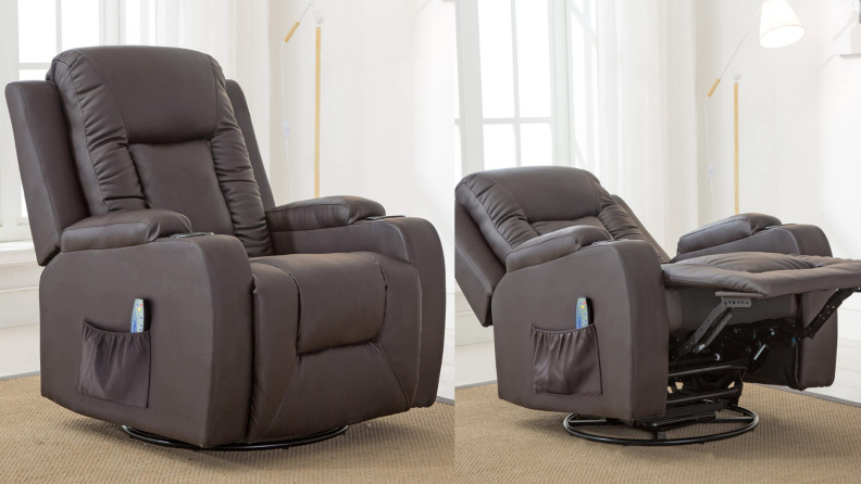 On left, brown leather chair in room. On right, brown leather chair extended in a horizontal position.