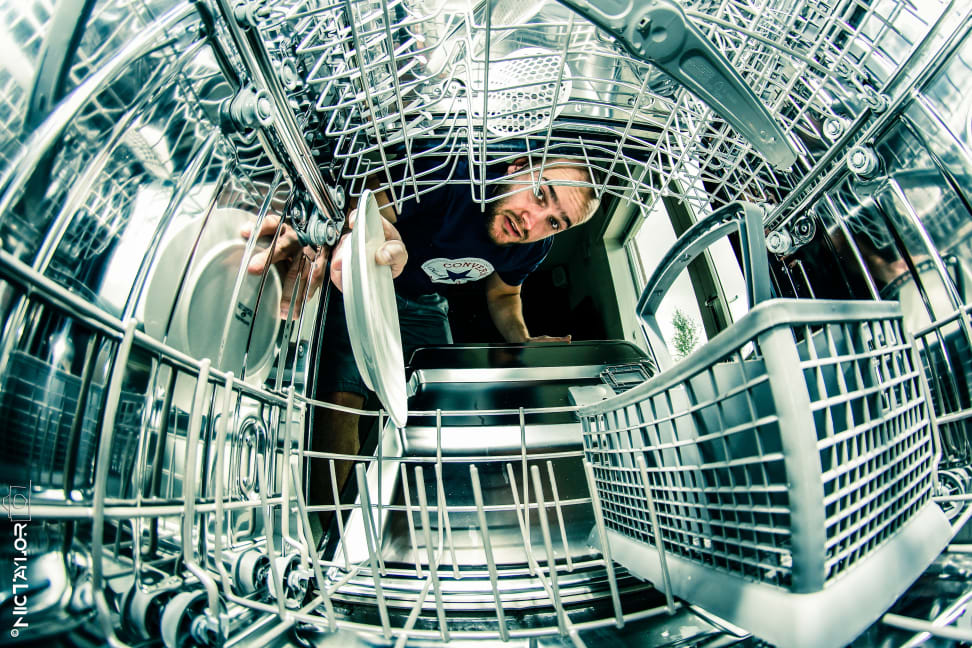 View from inside a dishwasher