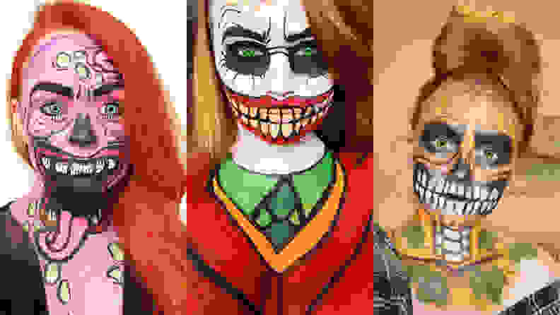 Three images side by side by side or someone wearing face paint for Halloween.