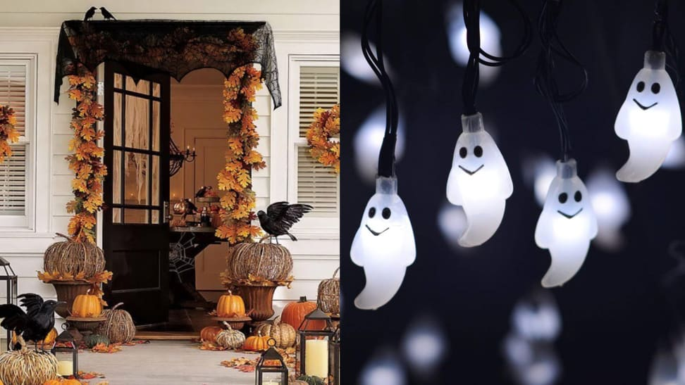 Outdoor Halloween decorations and spooky ghost string lights