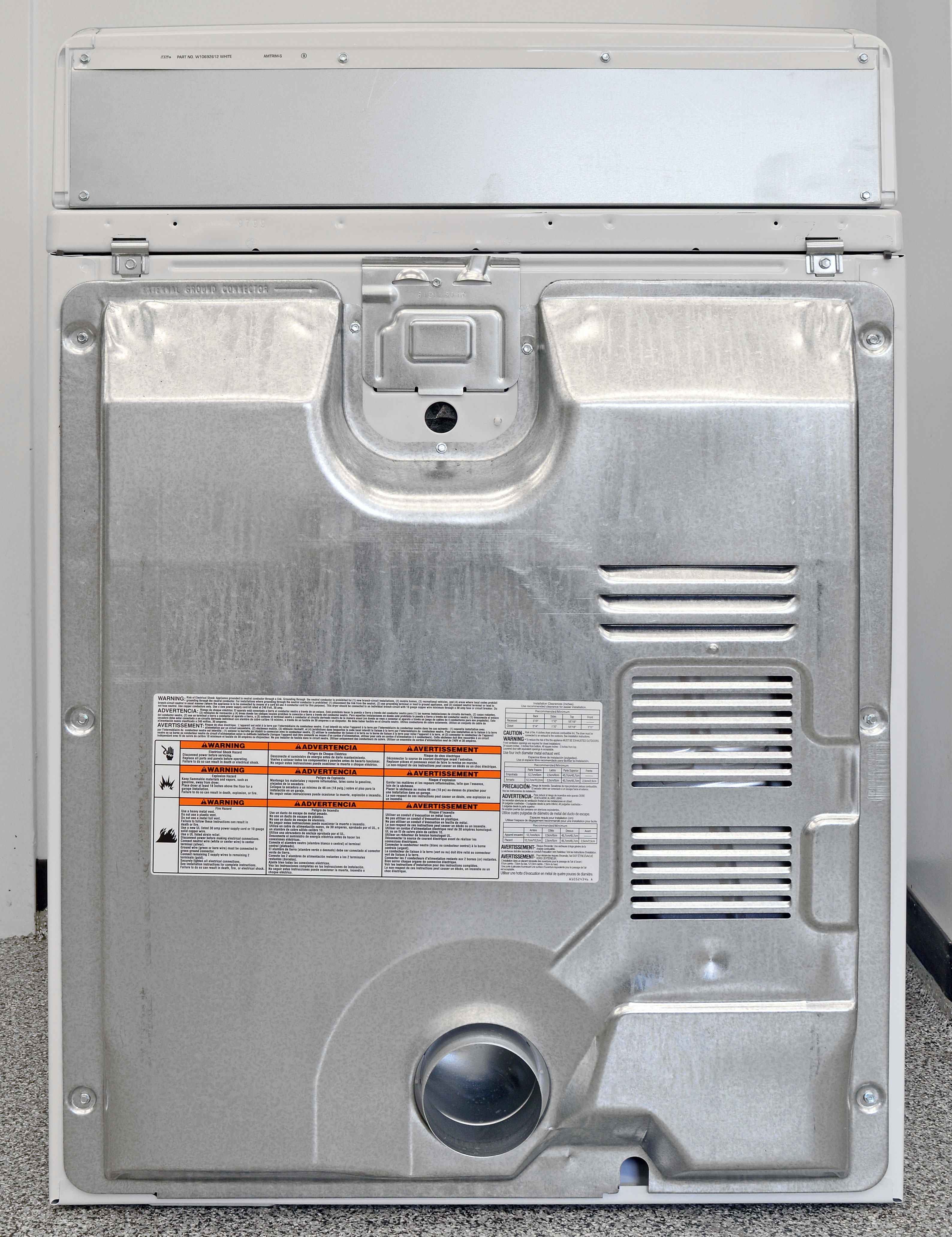 The Maytag Centennial MEDC415EW has no steam hookup, so there's nothing in back of interest.