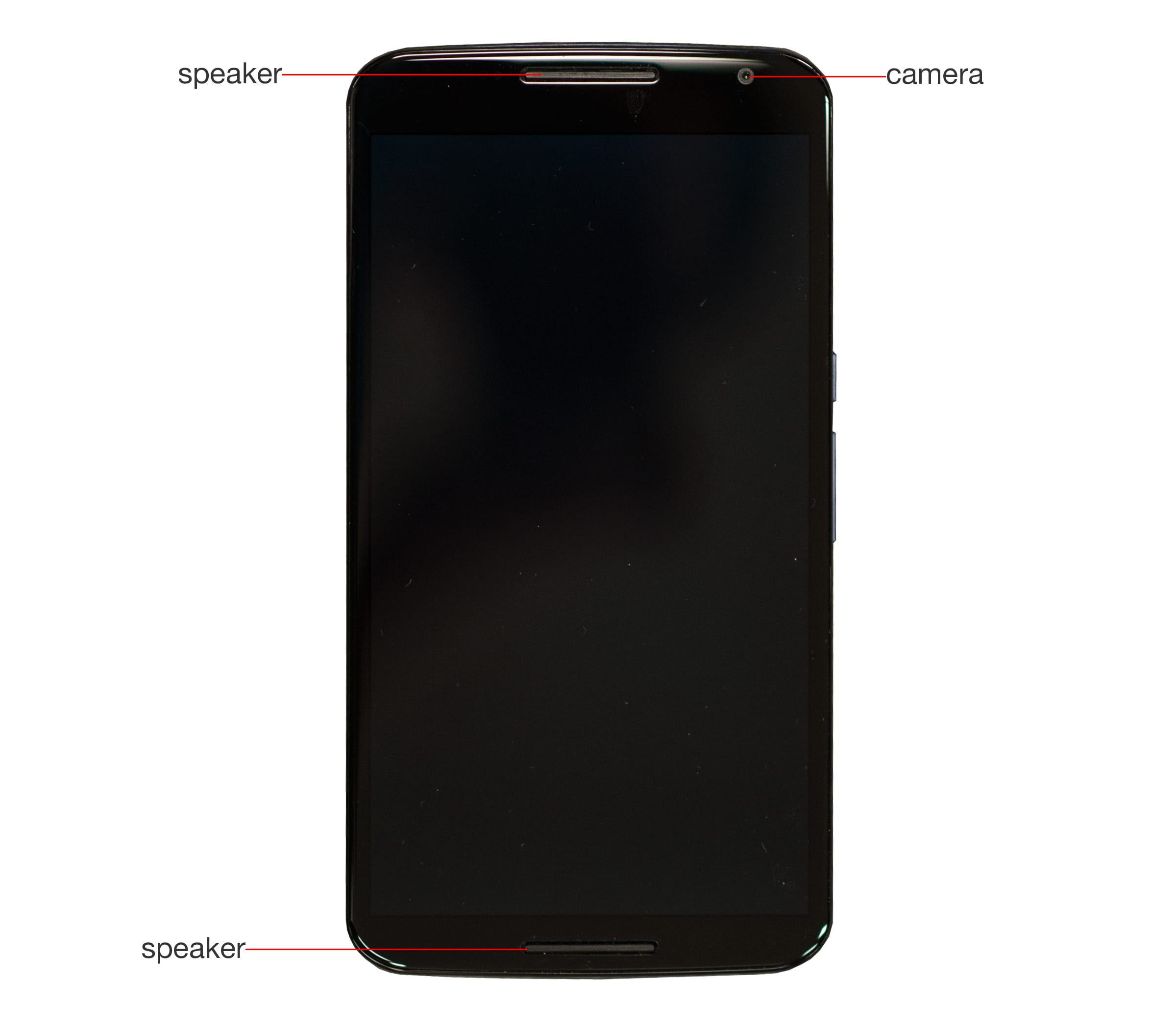 A callout image of the Google Nexus 6's front.