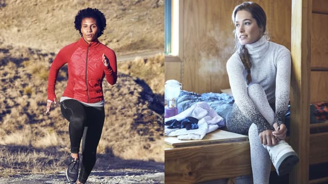 Athleta winter outdoor workout jacket and wintery ombre leggings