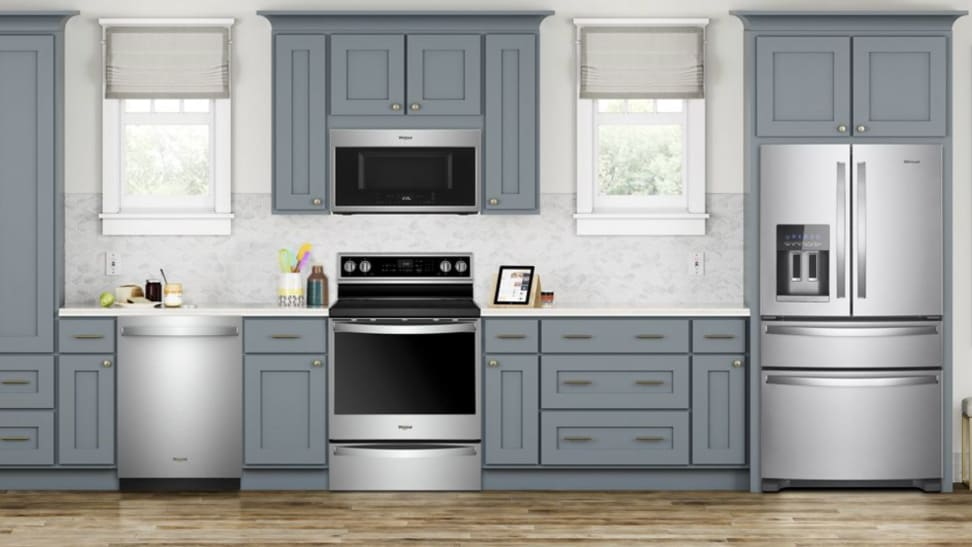 A clean, modern kitchen full of Whirlpool appliances