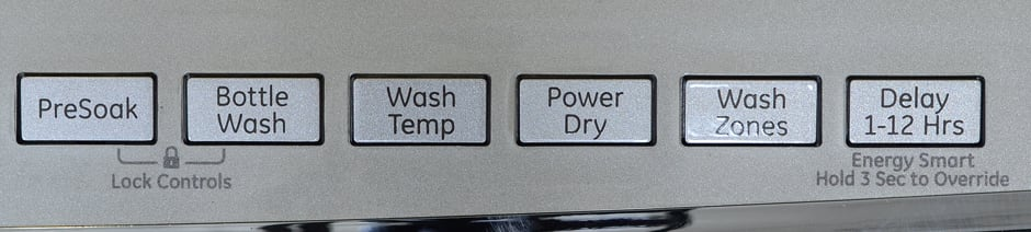 GE Profile PDT760SSFSS buttons for wash options