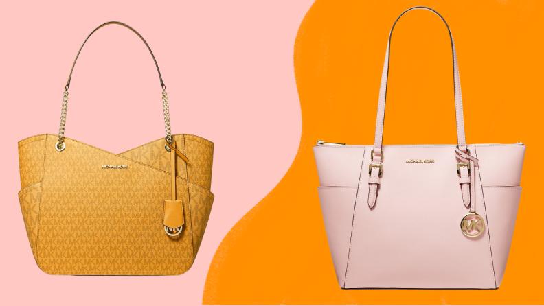 An orange shoulder bag and a pink shoulder bag against a colorful background.