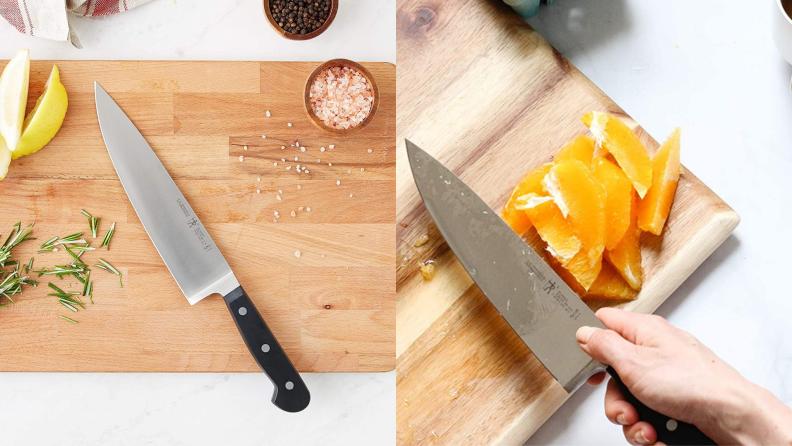 A Henckels knife on a cutting board.