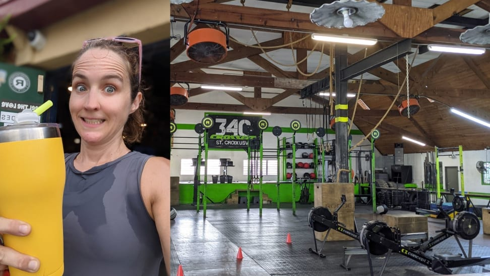 Sweaty woman holding a large drink cup next to a shot of a CrossFit gym