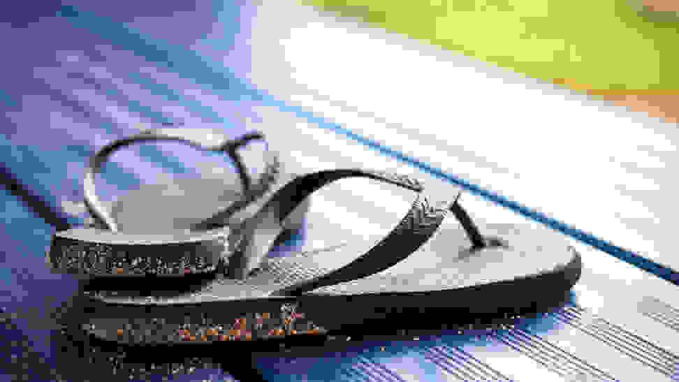 Sandy flip-flops