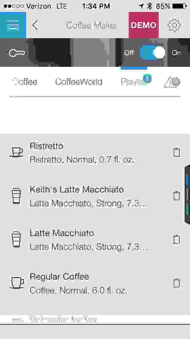 Bosch Home Connect Smart Coffee Maker Screenshot