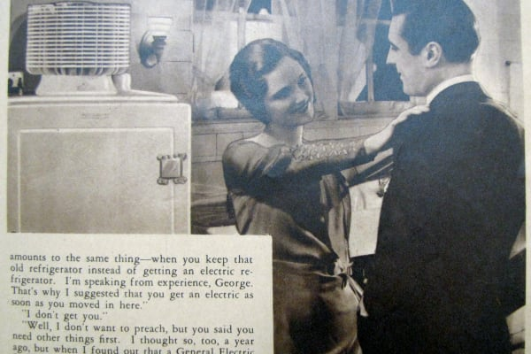A short fictional story advertising the GE Monitor Top. The Silent Hostess, 1930.
