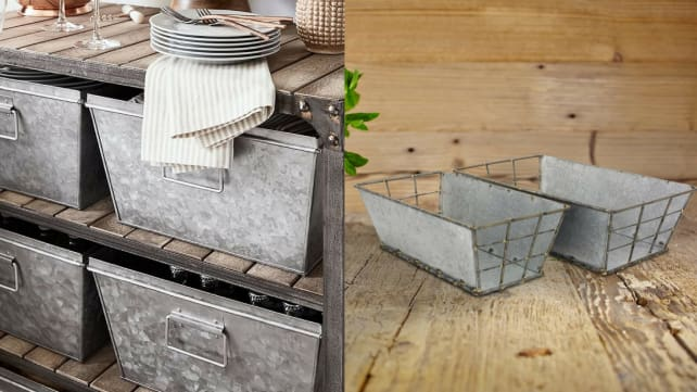 A Pair Of Galvanized Storage Bins For A Farmhouse Feel