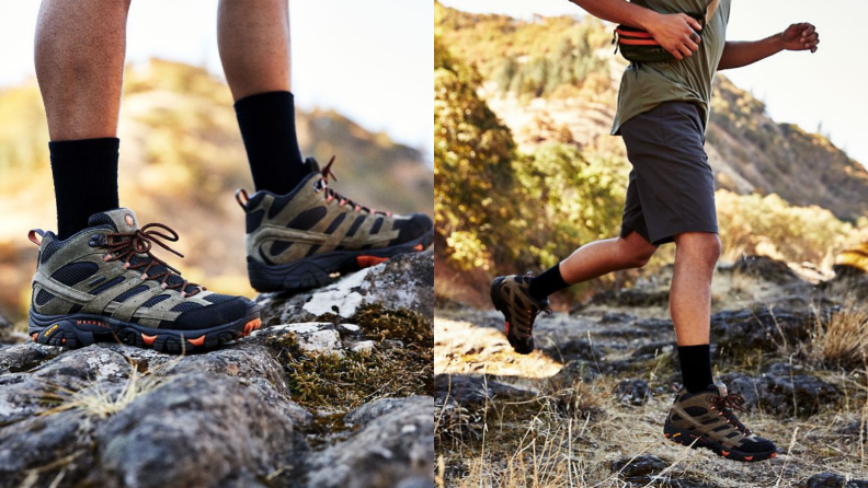 person standing in Merrell hiking boots, person walking in hiking boots