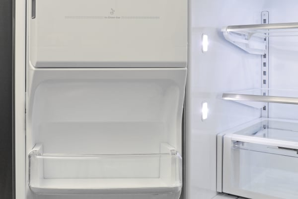 There's not a lot of usable space on the Whirlpool WRF757SDEM's left fridge door due to the presence of the ice maker.