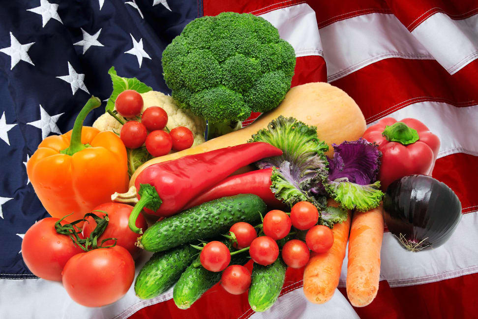 Vegetables all over the American flag