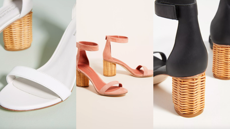 white, pink, and black heeled sandals