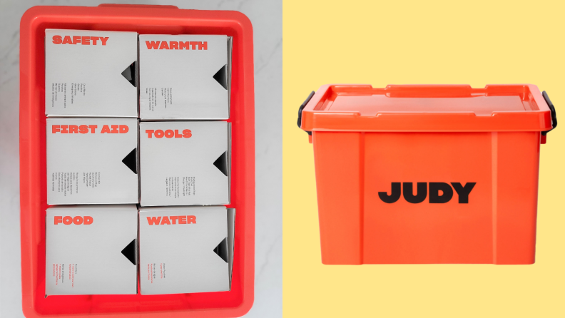 On left, six boxes of emergency supplies inside of emergency kit. On right, Judy Survival Safe in front of yellow background.