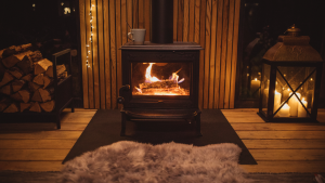 Wood stove in cozy living room.
