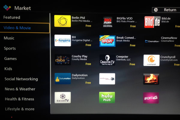 Some apps, like Netflix and Hulu, come preinstalled on the Panasonic AS530U, but to download extra apps users must create a Panasonic Cloud ID.