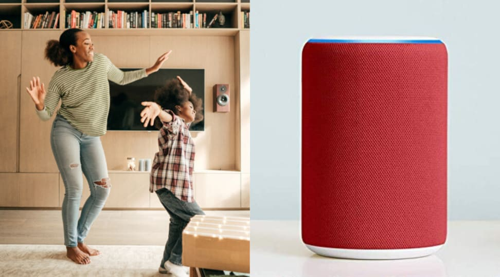 A side-by-side of two people dancing and an Amazon Echo speaker
