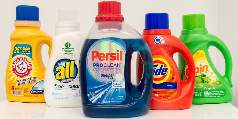 A row of liquid laundry detergents