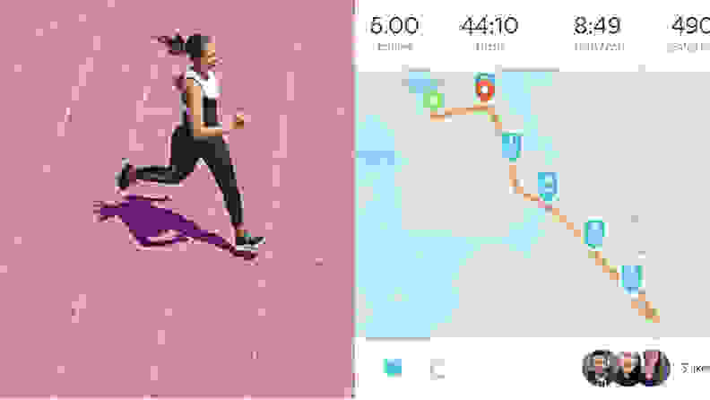 left: woman running on pink background. right: asics runkeeper.