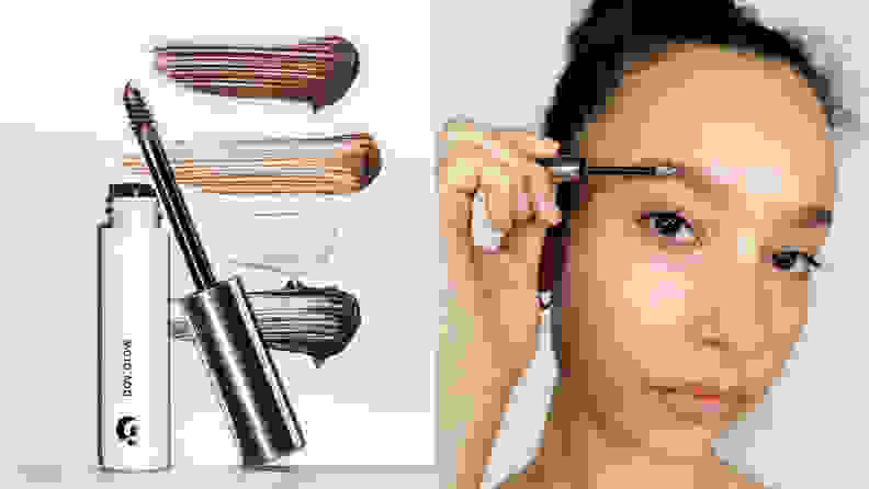 On the left: The small Glossier Boy Brow tube stands with its small brush leaned up against it. Swatches of each color of the brow gel are in the background. On the right: A person brushes through their eyebrow hairs with Boy Brow.