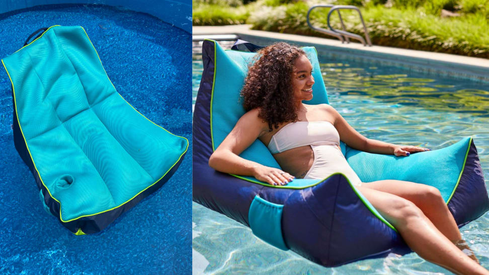 """On left, navy-aqua """"Captain's Pool Float"""" from Big Joe in pool water. On right, woman smiling while reclining outdoors in pool on the navy-aqua """"Captain's Pool Float."""""""