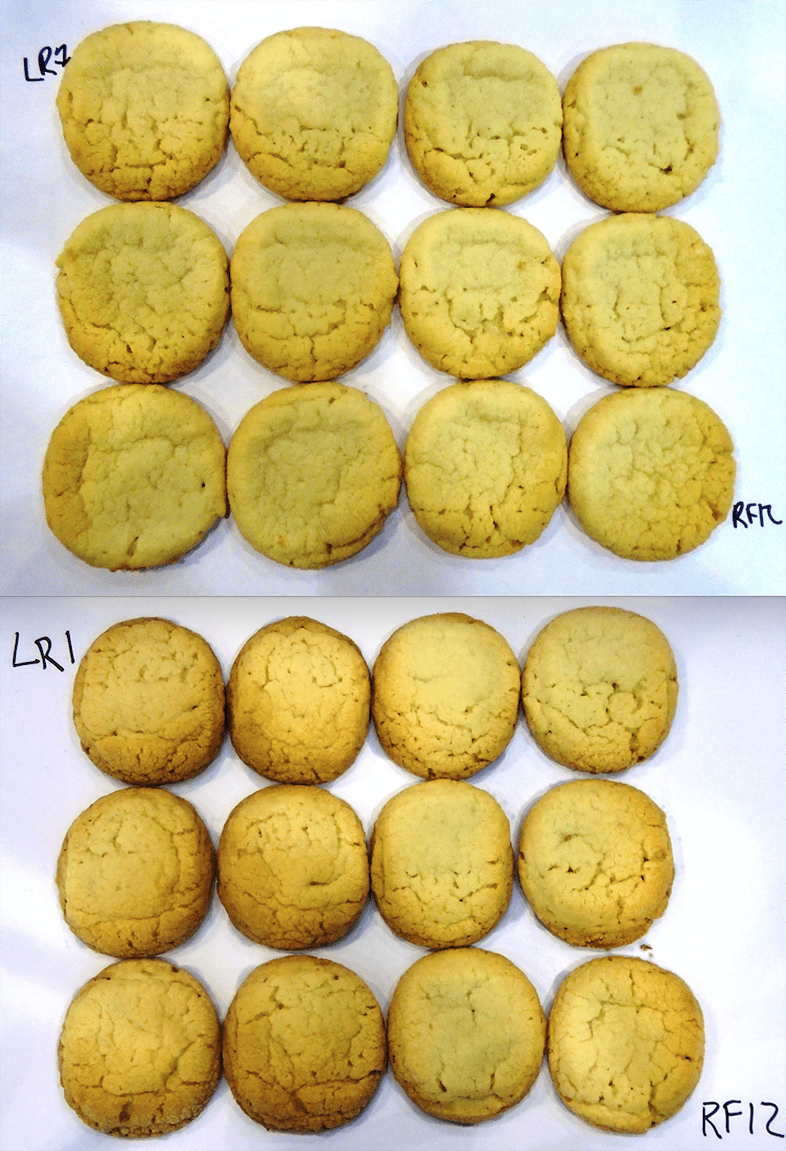 Cookies showing different degrees of baking evenness.