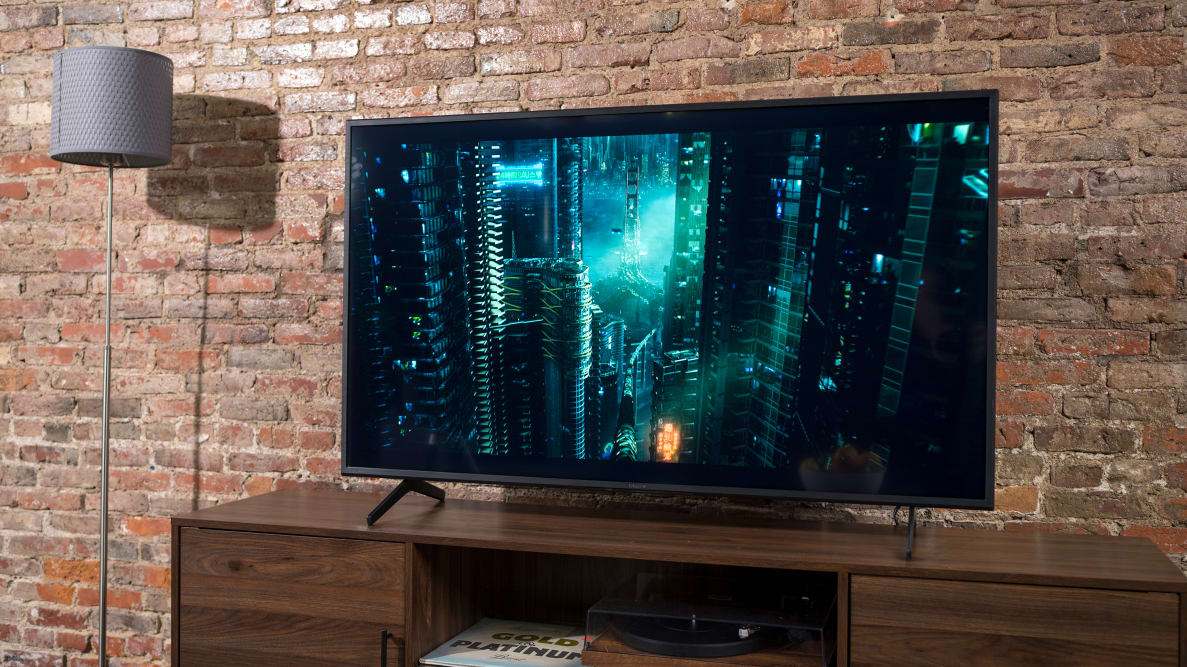 The 55-inch Sony X80J displaying 4K/HDR content in a living room setting