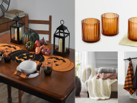 An image of several decor items including a table runner, a throw blanket, amber votives, and more.