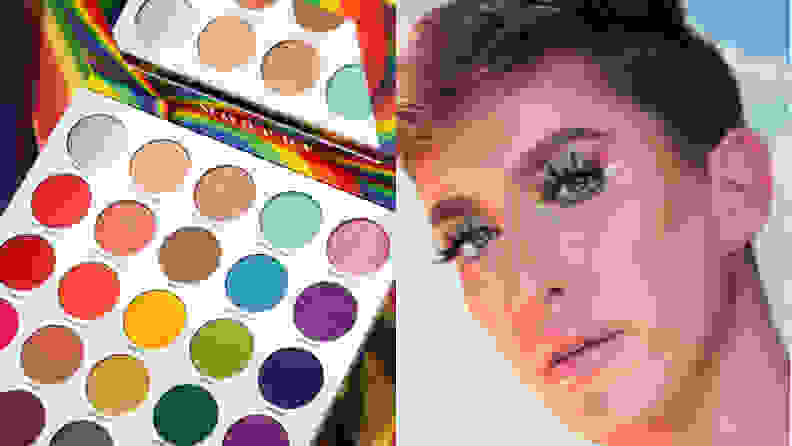 rainbow makeup palette next to a feminine looking boy wearing eyeshadow and makeup