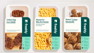 Freshly Protein & Sides packages of, from left, steak, mac and cheese, and turkey meatballs