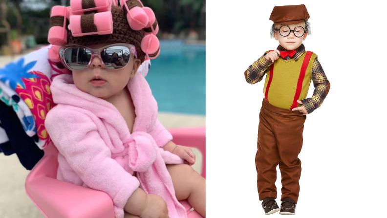Infants dressed as senior citizen Halloween costumes.