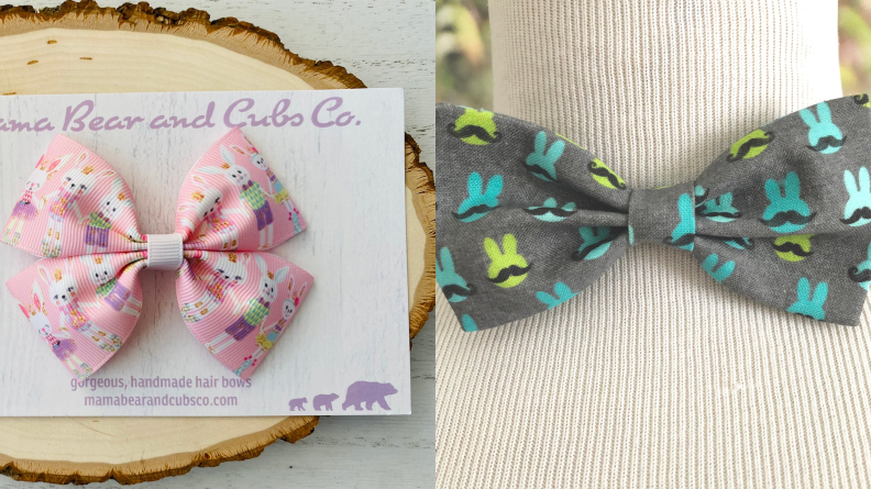 Girls pink hair bow with bunnies and boys grey bowtie with blue bunnies