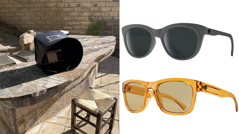 On right, laptop outside in pop-up tent on counter. On right, two pairs of black and yellow Spyoptic polarized sunglasses.
