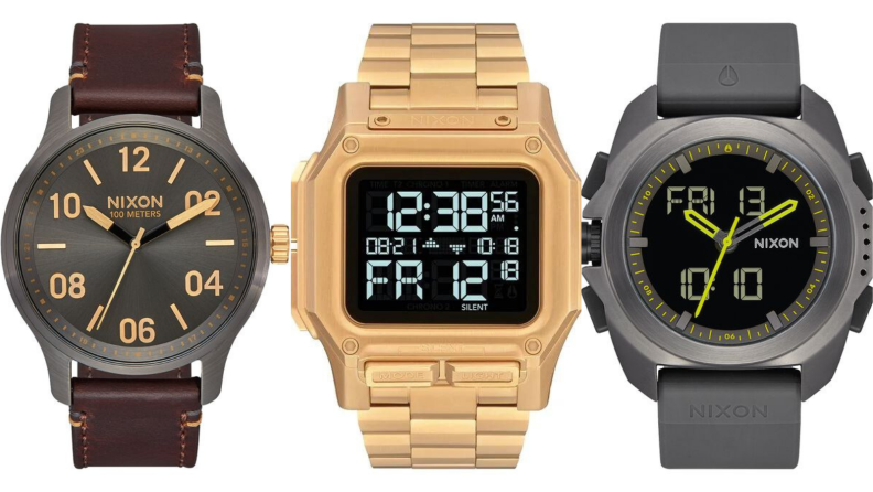 nixon watches showing off analog, digital, and hybrid styles